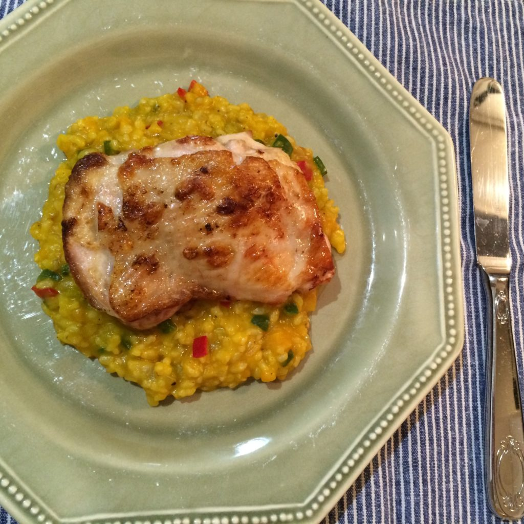 塩レモングリルチキン   かぼちゃと若玄米のリゾット添え