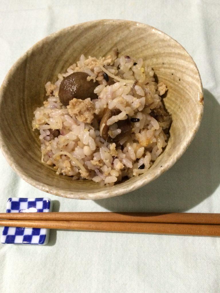 甘栗と鶏の酒粕炊き込みご飯