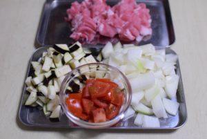 豚肉と雑穀のラタトゥイユ風