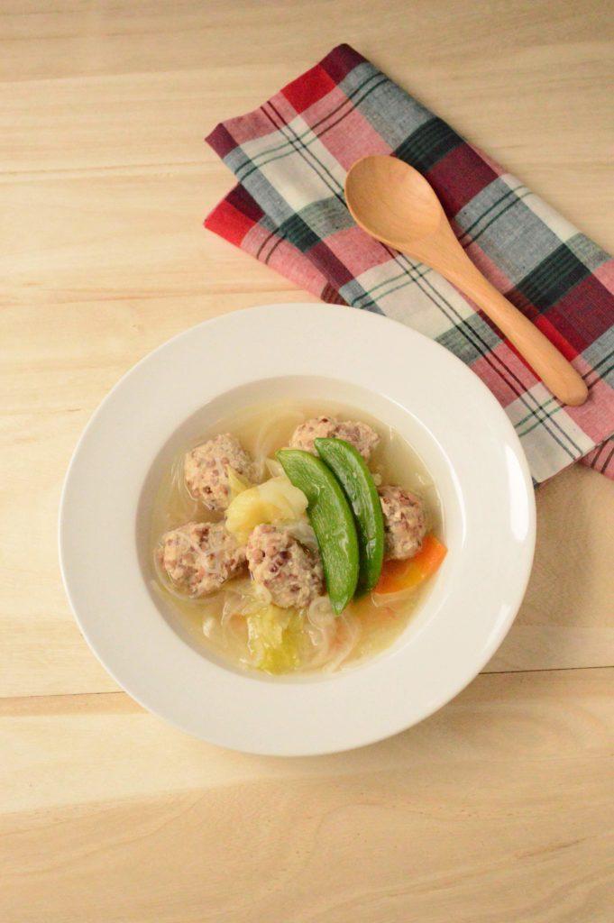 ダイエットレシピ     たかきび入り鶏ひき肉団子と春野菜のスープ煮