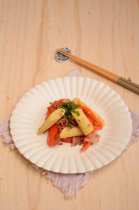 たかきびと野菜のカラフル炒め